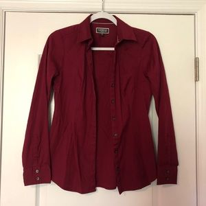 Express Essential Button Down Shirt- Wine Red, S
